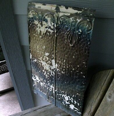 Antique SHABBY Farmhouse Rustic Ceiling Tin Vintage Architectural Wall Art