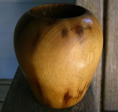 Vintage Myrtle Wood Trading Post Vase Rustic Beauty Weathered