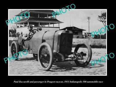 Old Historic Photo Of Zuccarelli Driving His Peugeot Race Car, Indianapolis 1913
