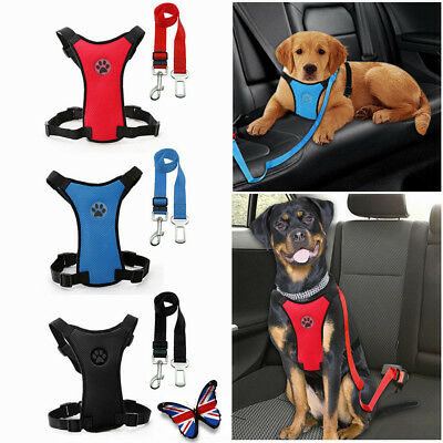 Mesh Puppy Pet Dog Car Harness and Seat Belt Clip Lead Safety for Dogs Travel HY
