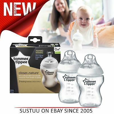 Tommee Tippee Closer To Nature Baby Feeding Bottle 260ml 2Pk│Soft Silicone Teat