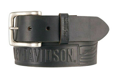 Harley-Davidson® Mens Embossed Winged Bar & Shield Black Leather Belt HDMBT11334