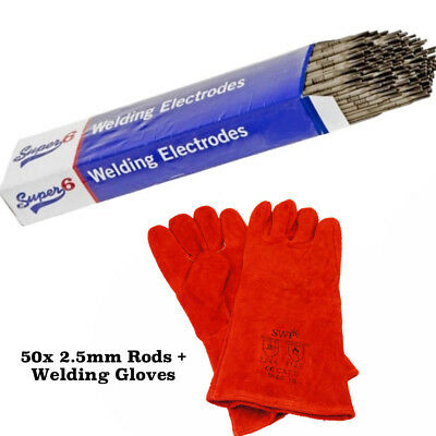 50x 2.5mm E6013 Arc Welding Electrodes Rods General Purpose Mild Steel + Gloves