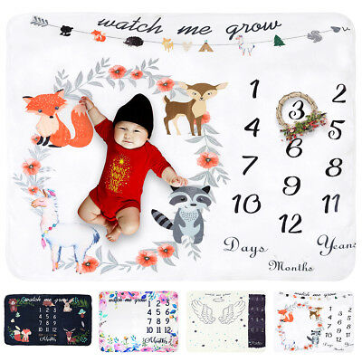 Newborn Baby Fleece Monthly Growth Milestone Blanket Photography Background Prop