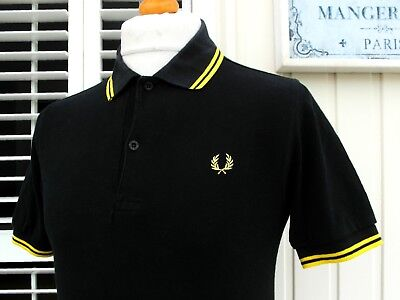 """Fred Perry M1200 Black Twin Tipped Polo - S/M - 38"""" - Ska Mod Scooter Casuals"""