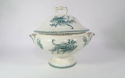 Large French Vintage Porcelain Soup Tureen Green Transferware