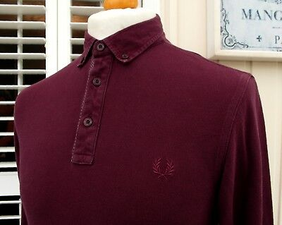 Fred Perry Burgundy Woven Collar Slim Fit L/S Polo Shirt - M - Ska Mod Scooter