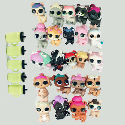 lot of  5pcs Random  Lol Surprise Pets Dog Puppy Cat Kitten Figure Toys Gift
