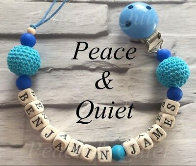 Personalised Dummy Clip⭐️Wooden⭐️Silicone⭐️14 Letters⭐️Long Name⭐️gift #WSW