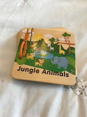 Jungle Animals Wooden Board Book Toddler Baby