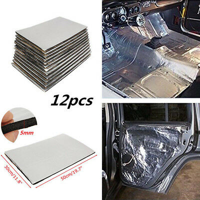12pcs Auto Sound Deadener Heat Insulation Pads Mat Deadening Body Panels Floor