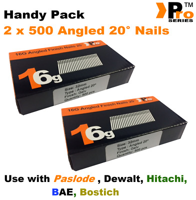 2 x 500 nail packs- size 32mm 16g ANGLED 20° - for Dewalt ,Paslode ,Hitachi