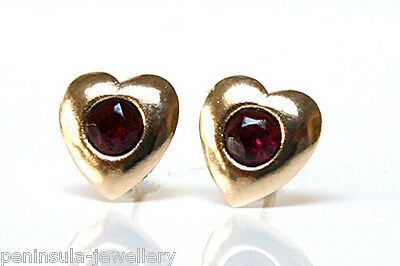 9ct Gold Garnet Heart Studs earrings Made in UK Gift Boxed