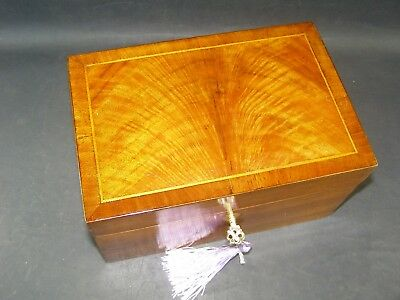 Antique Flame Mahogany Jewellery  Box Working Lock & Key C1880 Velvet Lined