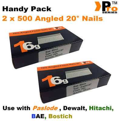 2 x 500 nail packs- size 50mm 16g ANGLED 20°  for Dewalt ,Paslode ,Hitachi