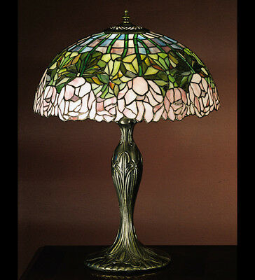 Meyda Tiffany 31143 Stained Glass Tiffany Table Lamp, Cabbage Rose Collection