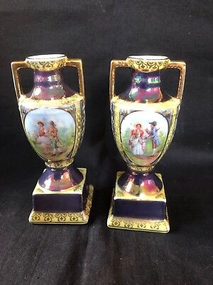 antique 1900 pair of royal vienna miniature vases / urns with classical painting