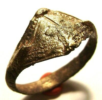 Ancient Rare authentic Vikings Age bronze ring with ornament.