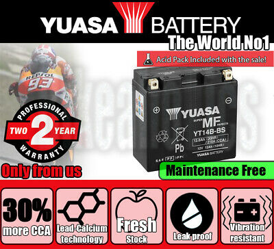 Maintenance Free Battery YT14B-BS Dry Yuasa Inc Acid Pack for Yamaha XVS