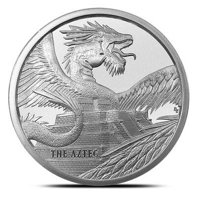1 oz .999 Fine Golden State Mint Aztec World of Dragons Silver Round - New