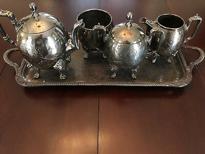 Vintage Silverplated Aesthetic American Revival Taunton Tea Set 4 Pieces c1870s