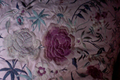 """Antique 1920's Silk Hand Embroidered Large """"Damask Rose"""" Piano Shawl"""