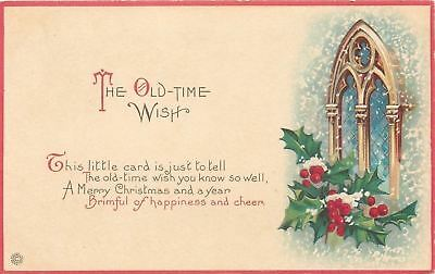 Old Time Christmas~ART DECO~Snowy Holly Berry on Arch Window~Red Border~727 A