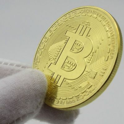 Gold Bitcoin Commemorative Round Collectors Coin Bit Coin is Gold Plated Coin a1
