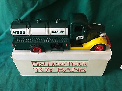 """1985 Hess """"first Hess Truck Toy Bank"""" New In Box With Both Inserts-Lights Great"""