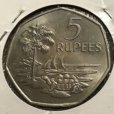 1972 Seychelles 5 Rupees Brilliant Uncirculated Coin