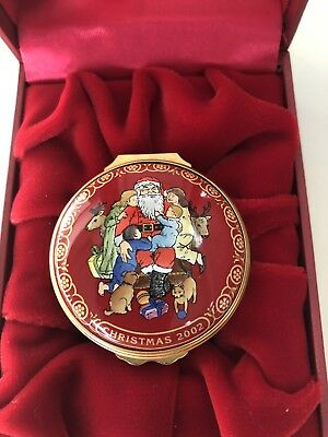 2002 - Halcyon Days Christmas Enamel Hinged Trinket Box w/box and Papers
