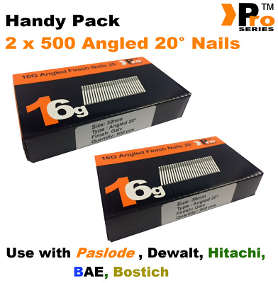 Mixed 16g ANGLED 20° Nails - 2 x 500 32mm + 38mm nail pack for Dewalt, Paslode