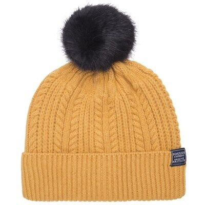 d605b2ef83aa0 New Womens Joules Yellow Bobble Hat Lambswool Beanie Beanies