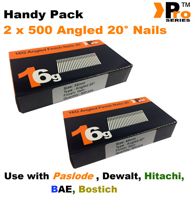 Mixed 16g ANGLED 20° Nails - 2 x 500 32mm + 45mm nail pack for Dewalt, Paslode