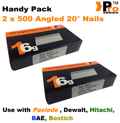 Mixed 16g ANGLED 20° Nails - 2 x 500 32mm + 50mm nail pack for Dewalt, Paslode