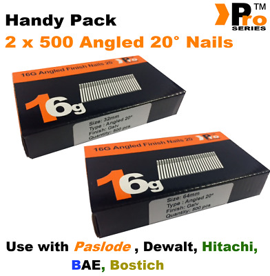 Mixed 16g ANGLED 20° Nails - 2 x 500 32mm + 63mm nail pack for Dewalt, Paslode