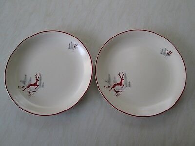 Crown Devon large dinner plates in the Stockholm leaping deer design x 2