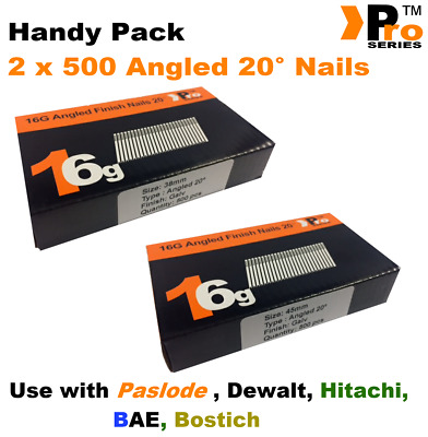 Mixed 16g ANGLED 20° Nails - 2 x 500 38mm + 45mm nail pack for Dewalt, Paslode