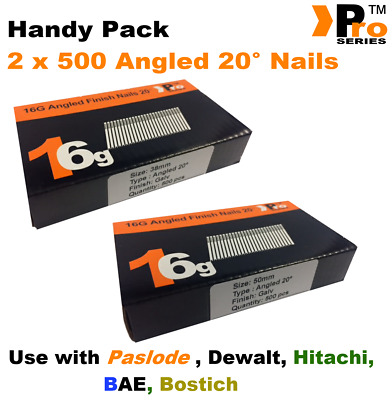 Mixed 16g ANGLED 20° Nails - 2 x 500 38mm + 50mm nail pack for Dewalt, Paslode