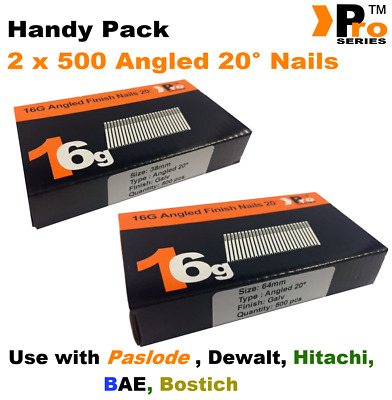 Mixed 16g ANGLED 20° Nails - 2 x 500 38mm + 63mm nail pack for Dewalt, Paslode