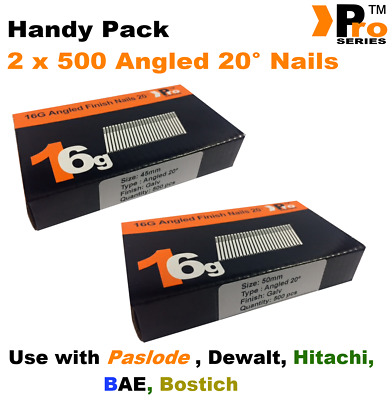 Mixed 16g ANGLED 20° Nails - 2 x 500 45mm + 50mm nail pack for Dewalt, Paslode