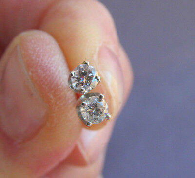 VINTAGE 14K WHITE GOLD ROUND SOLITAIRE DIAMOND STUD PIERCED EARRINGS .14ct EACH