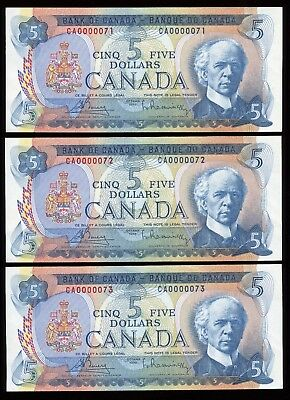 1972 Bank of Canada $5 - Lot of 3 Consecutive Low Serial Numbered Notes