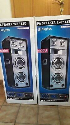 "2x 600W DJ PA PARTY LAUTSPRECHER  Disco Boxen 8"" Bass"