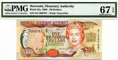 Money Bermuda $100 Dollars 2000 Monetary Agency Pmg Gem Unc Pick # 55 Value $670
