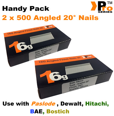 Mixed 16g ANGLED 20° Nails - 2 x 500 45mm + 63mm nail pack for Dewalt, Paslode