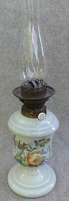Antique Victorian Painted Glass Hinks No.2 Oil Lamp Birds & Rose Decoration