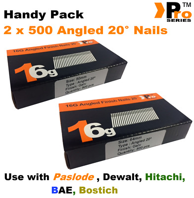 Mixed 16g ANGLED 20° Nails - 2 x 500 50mm + 63mm nail pack for Dewalt, Paslode