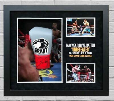 Floyd Mayweather Signed & FRAMED Boxing GLOVE Ricky HATTON TBE TMT AFTAL COA (F)