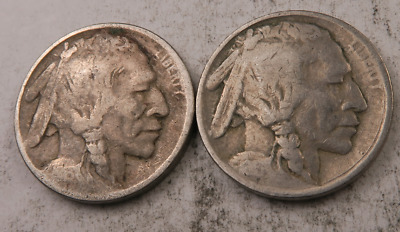 1913 (TY1) + 1913 (TY2) Buffalo Nickel Lot // 2 Coins // (BL341)